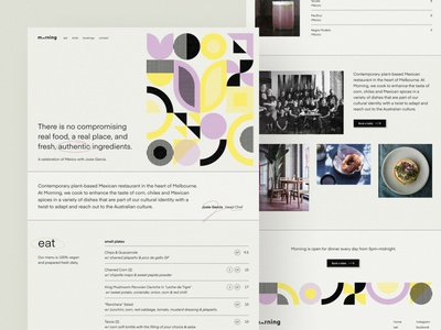 Morning restaurant concept — part 2 branding restaurant branding brand design split geometric shapes earthy minimalistic 1-page restaurant abstract illustration landing page brand identity webflow web design simple minimalism minimal