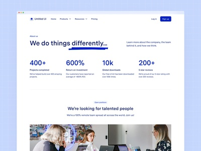 About us page — Untitled UI b2b ui webflow light blue clean ui simple minimalism minimal web design figma design systems design system jobs company careers about us