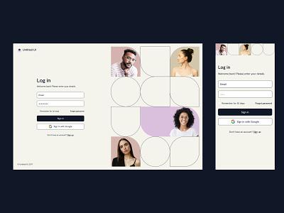 Log in page — Untitled UI figma ui kit design system webflow simple minimalism minimal geometric shapes geometry split signup login log in