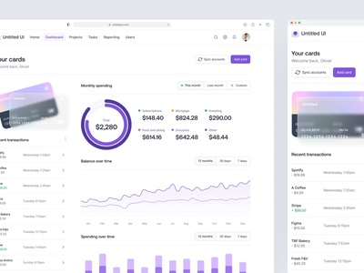 Banking + budgeting dashboard — Untitled UI report web app sidenav clean ui simple chart table cards figma design system ui kit minimal dashboard budgeting personal finance banking