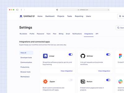 Integrations settings page — Untitled UI design system ui kit figma preferences minimal api settings web app settings page integrations settings dashboard