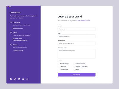 Minimal contact us page — Untitled UI ui kit design system figma webflow simple minimalism minimal web design form contact form about us contact us contact
