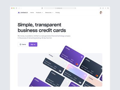 Digital bank landing page — Untitled UI design system ui kit figma fintech bank banking web design webflow clean ui simple minimalism minimal web page landing page credit card