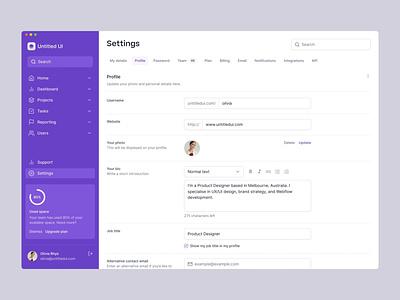 Profile settings page — Untitled UI sidenav sidebar design system ui kit figma web design simple minimalism minimal app settings profile preferences settings dashboard