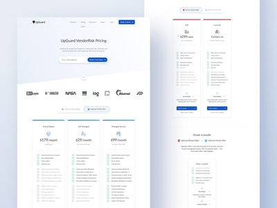 Pricing page for UpGuard clean ui figma pricing tiers sales subscription plans tabs features pricing pricing page webflow web design saas minimalism minimal light cyber security cybersecurity brand identity