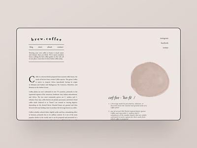 Brand experiments — part 22 webflow navigation type typogaphy blog blog design minimalistic beige cafe coffee minimalist minimalism illustration typography web design brand identity landing page clean ui simple minimal