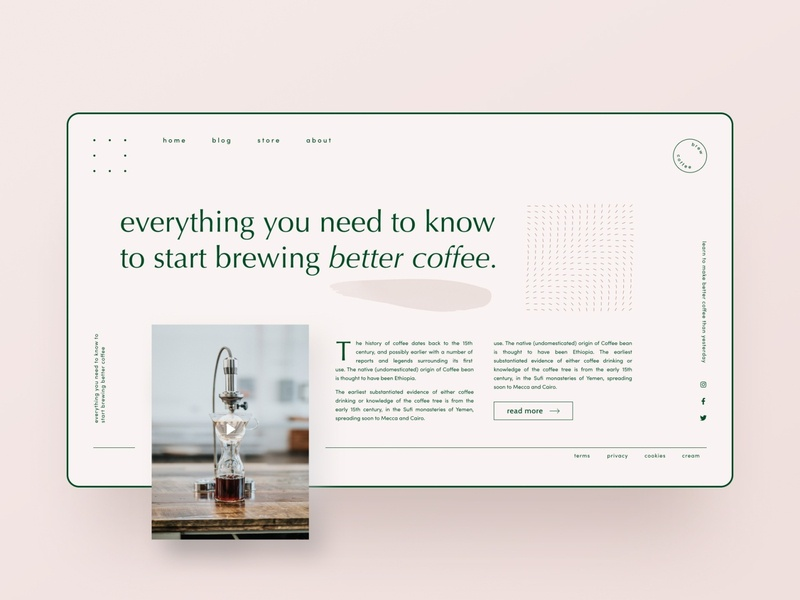 Brand experiments — part 24 webflow layout css grid landing page concept blog design blog coffee blog pattern sofia pink coffee animation typography landing page brand identity web design clean ui minimalism simple minimal
