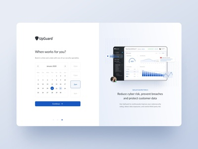 Booking form for UpGuard create account new user steps animation registration form design form date picker calendar booking form booking onboarding account signup sign up web design clean ui minimalism simple minimal