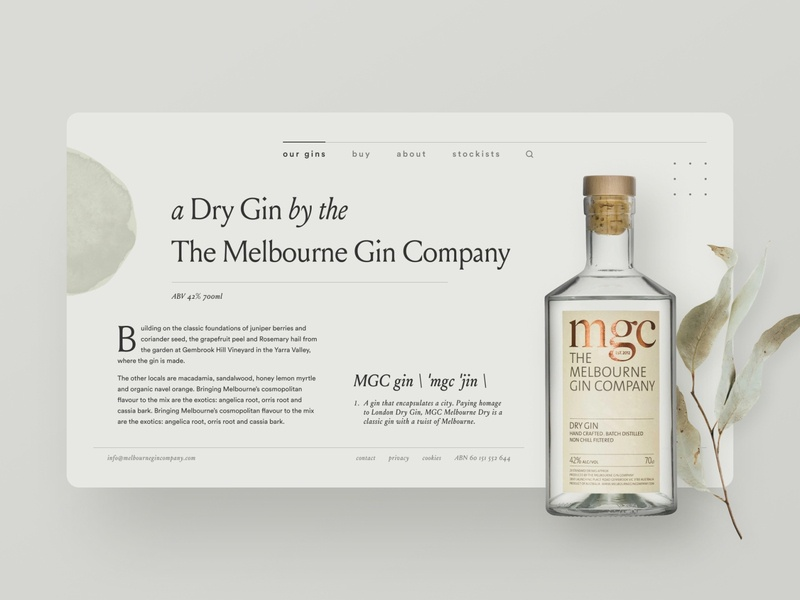Gin distillery website exploration — part 01 shopify e-commerce whisky whiskey mgc melbourne gin company minimalistic clean ecommerce bottle concept gin distillery typography webflow landing page brand identity web design clean ui simple