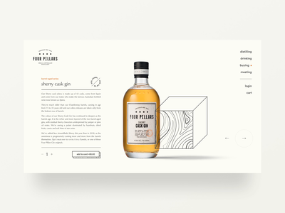 Gin distillery website exploration — part 04 gin e-commerce shopify whisky whiskey animation wood texture type packaging product carousel add to cart checkout ecommerce australian typography webflow landing page brand identity web design minimal