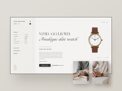 Void Watches e-commerce exploration scandinavian fashion watches sidenav categories shopping cart shopify e commerce e-commerce ecommerce watch shop typography webflow brand identity web design clean ui simple minimalism minimal