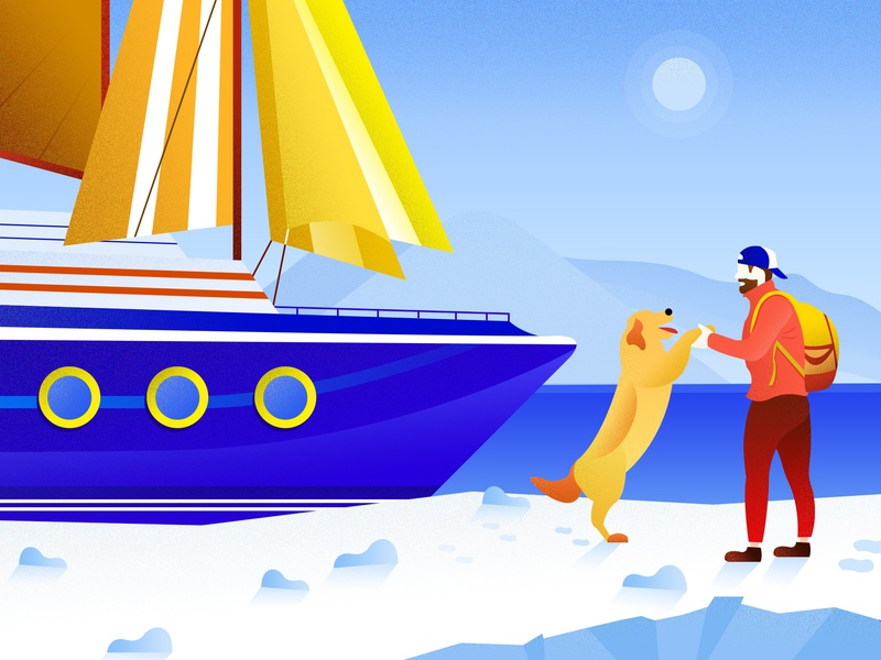 Traveling alone 一个人旅行 sail sunlight glacier pet dog boy winter ship