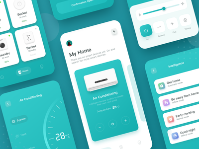 Intelligent Home Interface Practice 空调 图标 智能 家居 家具 conditioner furniture typography app branding illustration logo illustrations curriculum ui ps home design sketch icon