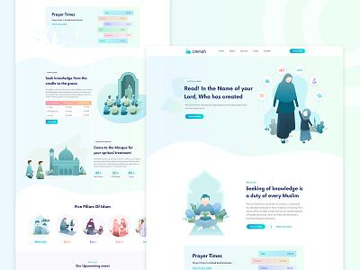 Ummah - Islamic Website Design website webdesign minimal landing page islamic website islamic knowledge islamic education charity mosque salat islamic