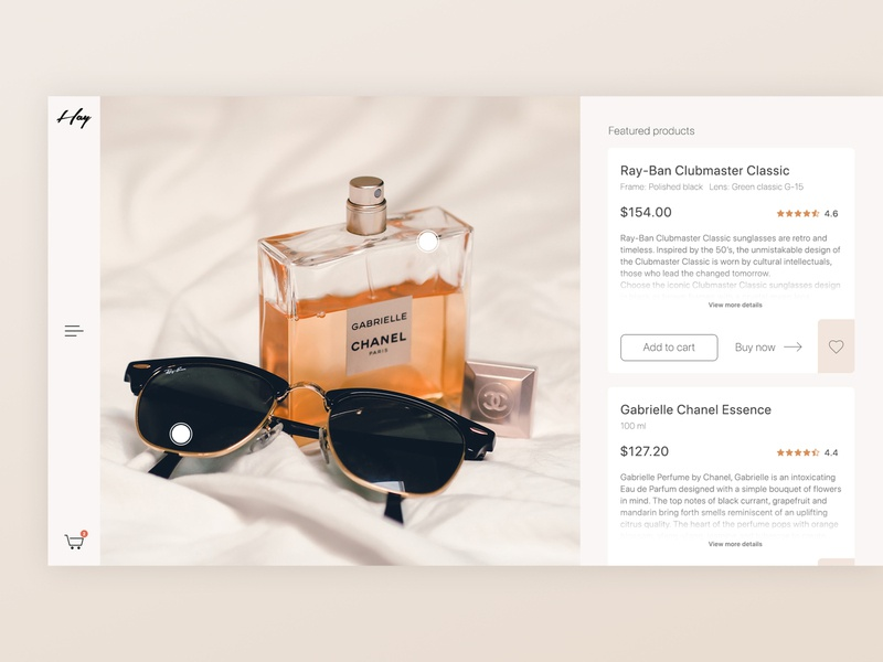 Online Shopping - Featured Premium Products cart featured product page minimal userinterface shopping rayban chanel ecommerce photoshop design app design adobe ui