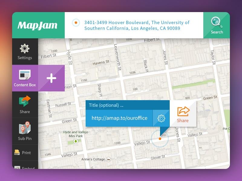 MapJam UI responsive interface webapp ui ux frontend green purple map pin marker