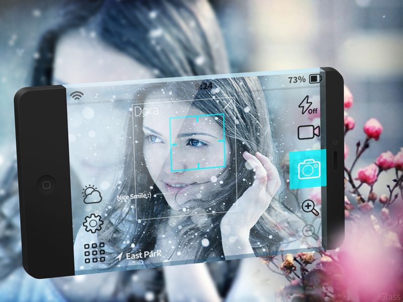 Future Camera app UI (PSD) glass ui future iglass iphone camera psd app freebie minimal