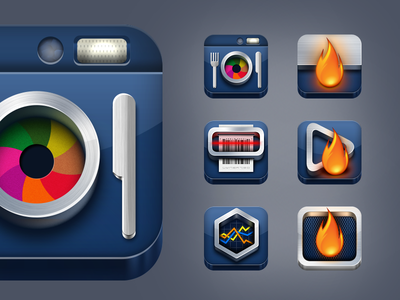 DailyBurn iOS Apps Icons icon camera food scanner tracker flame steel ios mobile