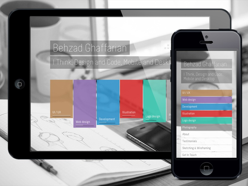 My New Portfolio, Live! responsive fluid portfolio personal website clean flat parallax