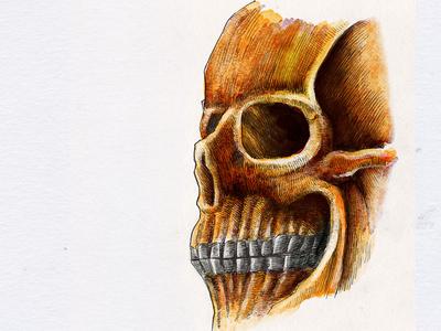 skull5 hand drawn print kzloty drawing inking