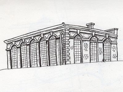 Beaufoy School ink inking drawing house outline illustration icon beaufoy fineliner linework
