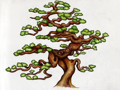Bonsai pen tree print charityproject kzloty drawing inking