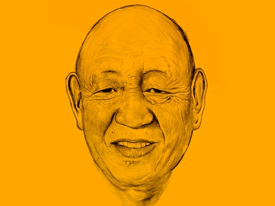 Chechoo Rinpoche Portrait inking drawing kzloty portrait