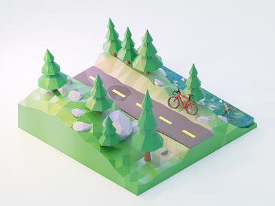 Forest Ride 🌲🚲🌲 polygonrunway diorama polygon runway blender blender3dart lowpoly lowpolyart low poly