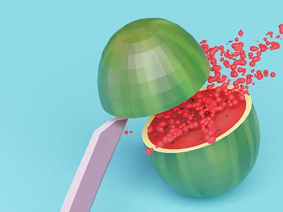 Fruit Ninja: 001 Watermelon 🍉 juicy fruity raw vegan vegan watermelon katana ninja fruit ninja slice fruit illustration fruits fruitninja fruit lowpolyart low poly lowpoly blender3dart blender