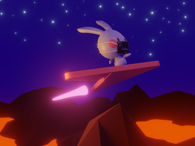 Ready to Launch 🐰🚀 ahancer galaxy spaceman rabbit lava spacedandy space bunny lowpolyart low poly lowpoly blender3dart blender