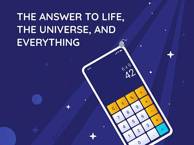 004 Calculator 42 universe galaxy hitchhiker uichallenge ui design ui daily ui calculator app calculation calculator calculator ui dailyuichallenge dailyui 004