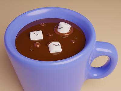 Hot Chocolate ☕ blendercycles coco hot cocoa hot chocolate chocolate marshmallow kawaii art kawai render 3dillustration blender3dart blender