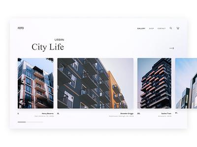 FOTO Gallery ecommerce photoshop buildings architecture city photos gallery app web dailyui flat design ux minimal ui