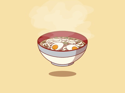 Udon! noodles food vector sticker illustration icon flat drawing udon