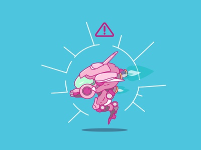 Nerf This! mech video game game illustrator illustration flat design vector sticker icon d.va overwatch