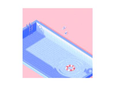 Boring swimming pool illustration c4d 3d
