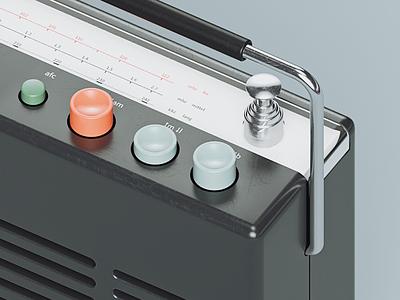 Braun T580 radio illlustration icon c4d braun