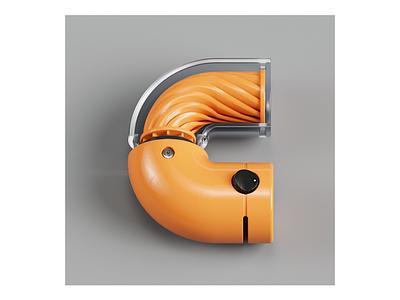 """Letter """"C"""". modeling modern typeface design octane typography cinema4d render 3d octanerender classic"""