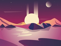 Sunset Illustration universe sunshine sunset sunrise purple planet mountains moody mars landscape lake design art illustrator art illustrator illustrations illustration evening dream design adobe