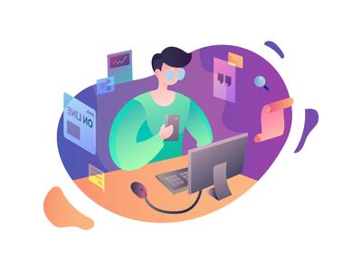 On line Salesman Gradient Illustration