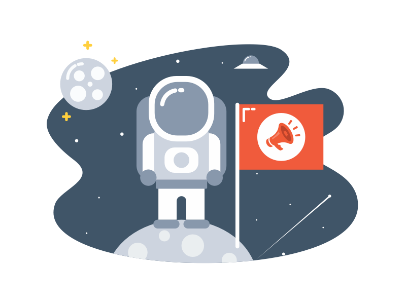 Useful Explore Page flag welcome screen welcome page illustrator brand branding mobile starship stars ufo moon planet solar spaceship space cosmonaut astronaut illustration picture image