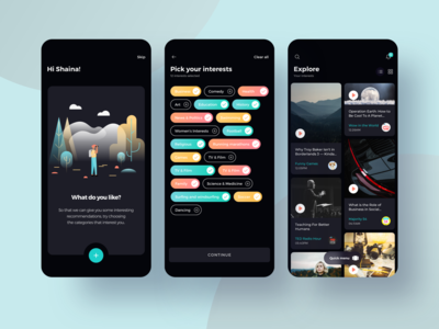 Mobile app for listening podcasts — Onboarding and Interests