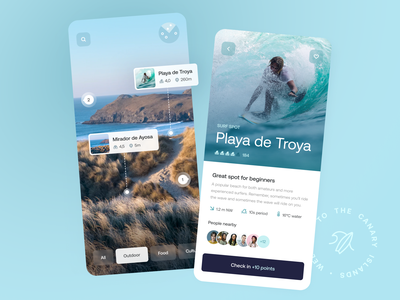 Mixed-reality Tenerife Guide — Tigers Team Dribbble Concepts: #3 places reviews surf travel augmented ios reality mixed ar interface app ux mobile ui