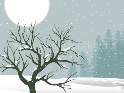 Snowy landscape Vector Illustration