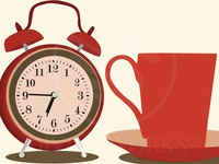 Alarm Clock With Coffee Cup