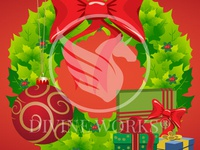 Christmas Wreath With Gifts Vector Illustration