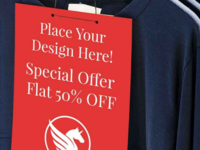 Free T-Shirt Sale Label Mockup