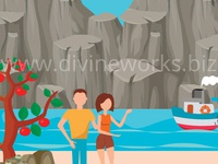 Couple On Beach Vector Illustration