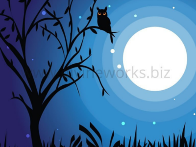 Free Beautiful Adobe Illustrator Moonlit Sky Vector Illustration