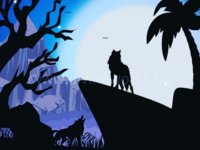 Free Adobe Illustrator Night Wolves Vector Illustration